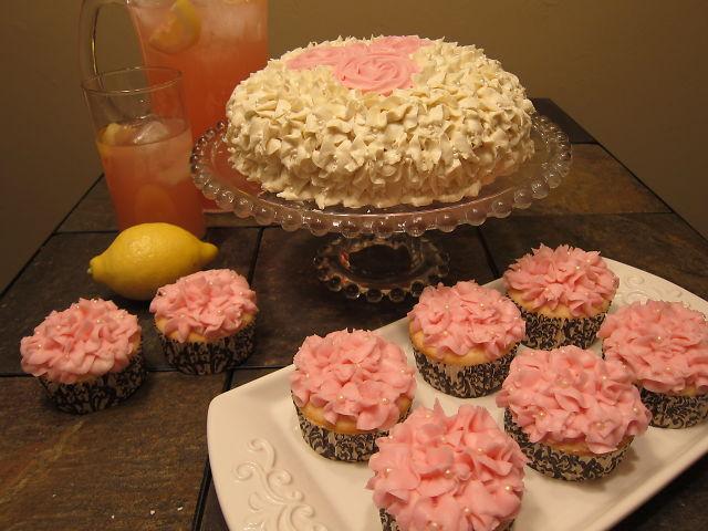 Pink Lemonade Hydrangea Rose Cake and Cupcake Tutorial