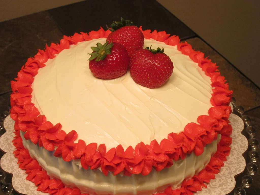 ... red velvet cake with strawberry filling. I love the way this cake