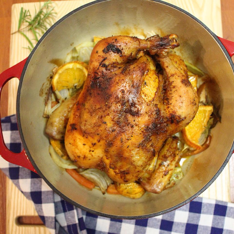 Dutch Oven Whole Roasted Chicken With Orange Spice Rub